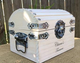 "8"" Girl's Treasure Chest - Wooden Trunk - Trinket Box - Sewing Box - Girl's Jewelry Box - Valentine's Day Gift  - Keepsake Box - Hope Chest"