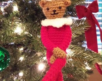 Crochet Christmas Shelf Elf Bear Amigurumi
