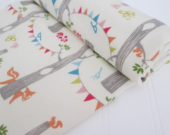 Organic Baby Blanket, WOODLAND PARTY, Receiving Blanket, Organic Fleece, BIRCH Fabrics, Eco-Friendly