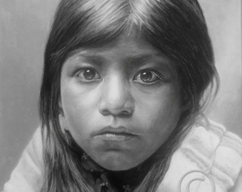 Canvas Giclee Print of acrylic painting, PUEBLO GIRL