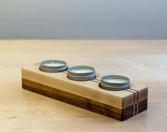 Candle Holder Gift Set - Maple, Soy Candle Gift Set, Soy Candles, Wooden Candleholder