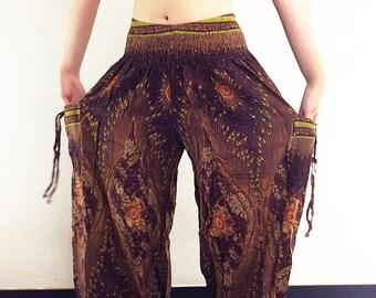 Harem Pants Women Yoga Pants Aladdin Pants Maxi Pants Boho Pants Gypsy Pants Rayon Genie Pant Hippy Pants Trouser Brown (TS44)