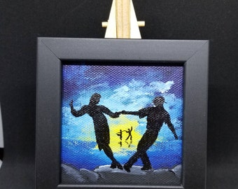 Let's Dance! -Original Acrylic mini painting on canvas with frame and easel