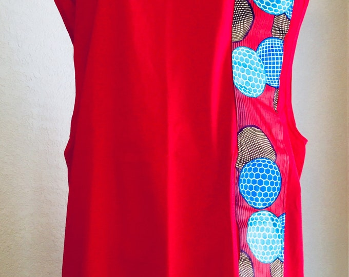 Featured listing image: African accented sleeveless t-shirt - red