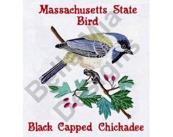 Bird - Machine Embroidery Design, Black Capped Chickadee