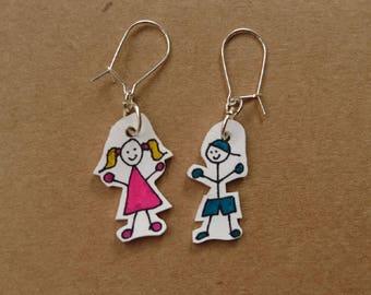 Original handmade earrings - shrink plastic