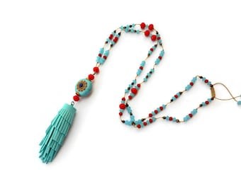Leather tassel necklace, Long necklace for women, Blue bead necklace, Long beaded necklace, Blue crystal necklace, Blue necklace