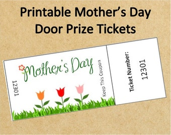 Printable Mother's Day Door Prize Tickets~Up to 40 Tickets!~Instant Download Mother's Day Raffle Tickets~Mother's Day Printable Game Tickets
