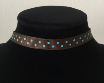 """Brown/Sky Blue Dotted """"14"""" Choker"""