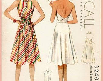 Bust 32 34 36 38 40 1930s 30s vintage women's sewing pattern faux wrap halter dress beach skirt reproduction English and French