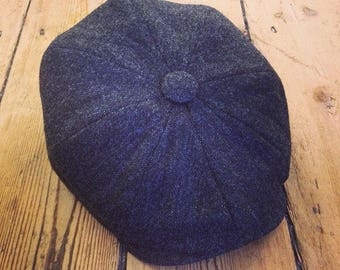 Mister Miller - ALBERT - Charcoal - Black Grey - Lambswool Tweed Newsboy Cap - Peaky Blinders Style - Mens Wool Cap - All Sizes