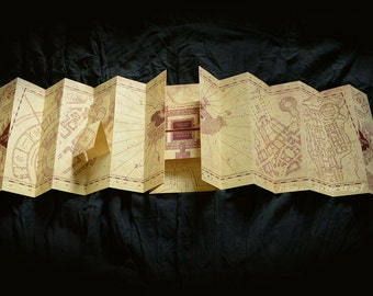 Marauder's Map smaller replica with all the 3D inserts and customizable with your name around the castle!