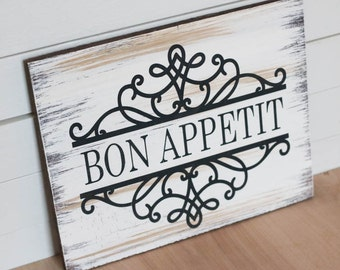 Merveilleux Bon Appetit, Bon Appetit Wood Sign, Kitchen Decor, Kitchen Sign, Shelf Art