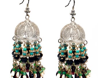 Sterling Silver bell Earrings,.925 Silver jhumka earrings,Tribal jewelry,Ethnic Indian Tarkashi jewelry,garnets, turquoise pearl and onyx