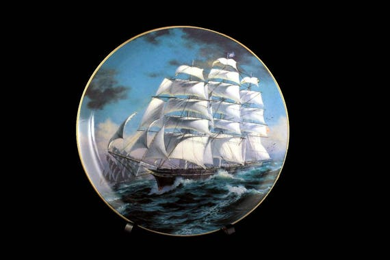 1981 Collectible Plate, Cutty Sark, The Great Clipper Ships Collection, Limited Edition, Decorative Plate, Wall Decor,  Franklin Mint