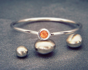 Orange Sapphire Ring | Handmade Solid 14K White Gold Ring set with Orange Sapphire | Fancy Color Sapphire Solid White Gold