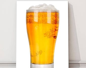 Pint of beer glass kitchen modern Canvas Picture Print