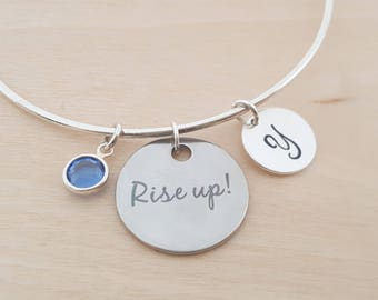 Rise Up - Silver Adjustable Bangle - Personalized Initial Bracelet - Swarovski Crystal Birthstone Jewelry - Gift For Her