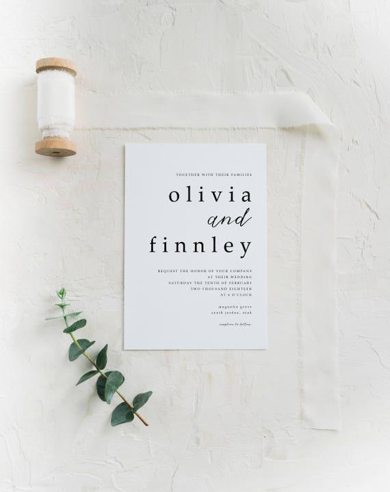 Minimalist Wedding Invitation Simple Wedding Invitation