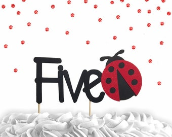 1 pc Five lady bug red Glitter Cake Topper for Birthday spring summer garden Party theme