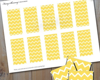 Mini Candy Bar Wrappers / Instant Download / Yellow Chevron Printable Candy Wrapper / PRINTABLE / 152