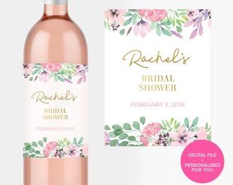 Floral Bridal Shower Wine Label Printable. Spring Bridal Shower label DIY Hens party digital Personalised Bachelorette Gift Champagne bottle