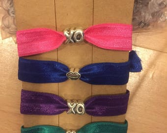 Mix & Match cute lip and XO charms on hair ties