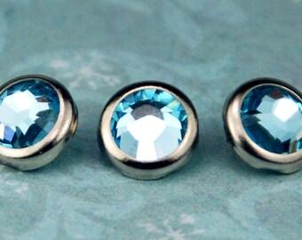 10 boutons pression aigue marine cristal cheveux - rond bord d'argent édition--faite avec des strass Swarovski Element