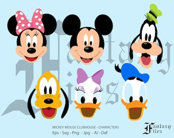 Mickey Mouse cluphouse character faces, Vector. svg/png/jpg/eps/ai/dxf