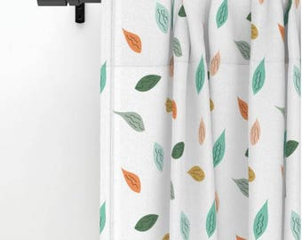 Leaf design curtain, leaf window curtains, dainty leaves illustrated autumn colors window covering, white drapes panel, window treatment