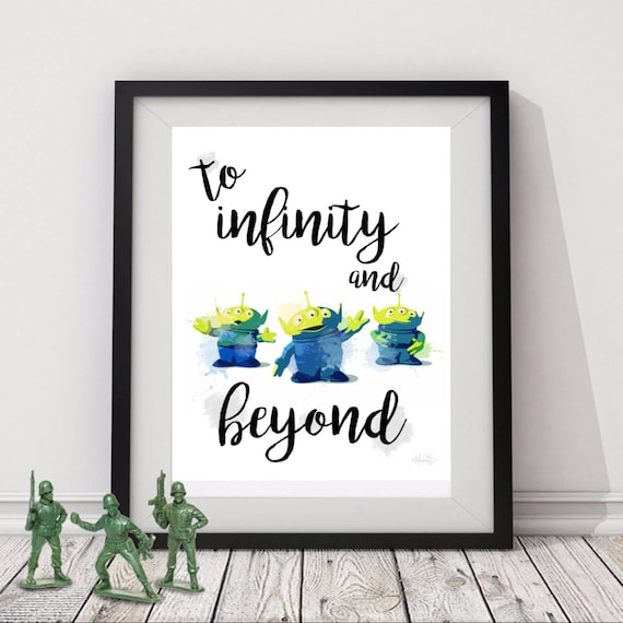 To Infinity and Beyond Toy Story Aliens Watercolor Digital