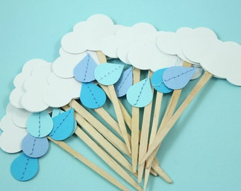 Little Rain Cloud Cupcake Toppers - Set of 12 - Baby shower, Bridal Shower
