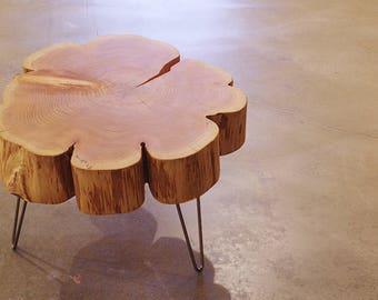 live edge coffee table - urban salvage - nimbus cloud table - natural edge with midcentury modern hairpin legs - flower - cedar flare