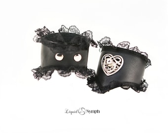Celtic BDSM Bracelets - Matte Black Leather & Lace Wrist Cuffs - Celtic Heart Fetish BDSM Submissive Jewelry - Daddy Dom Discreet Girl ddlg