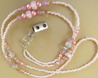 Pink ID Lanyard, Beaded, Lampwork Beads, Jewelry, Badge Holder, Gift Giving, Gift for Her, Crystals, Work ID Clip, Harleypaws, SRAJD