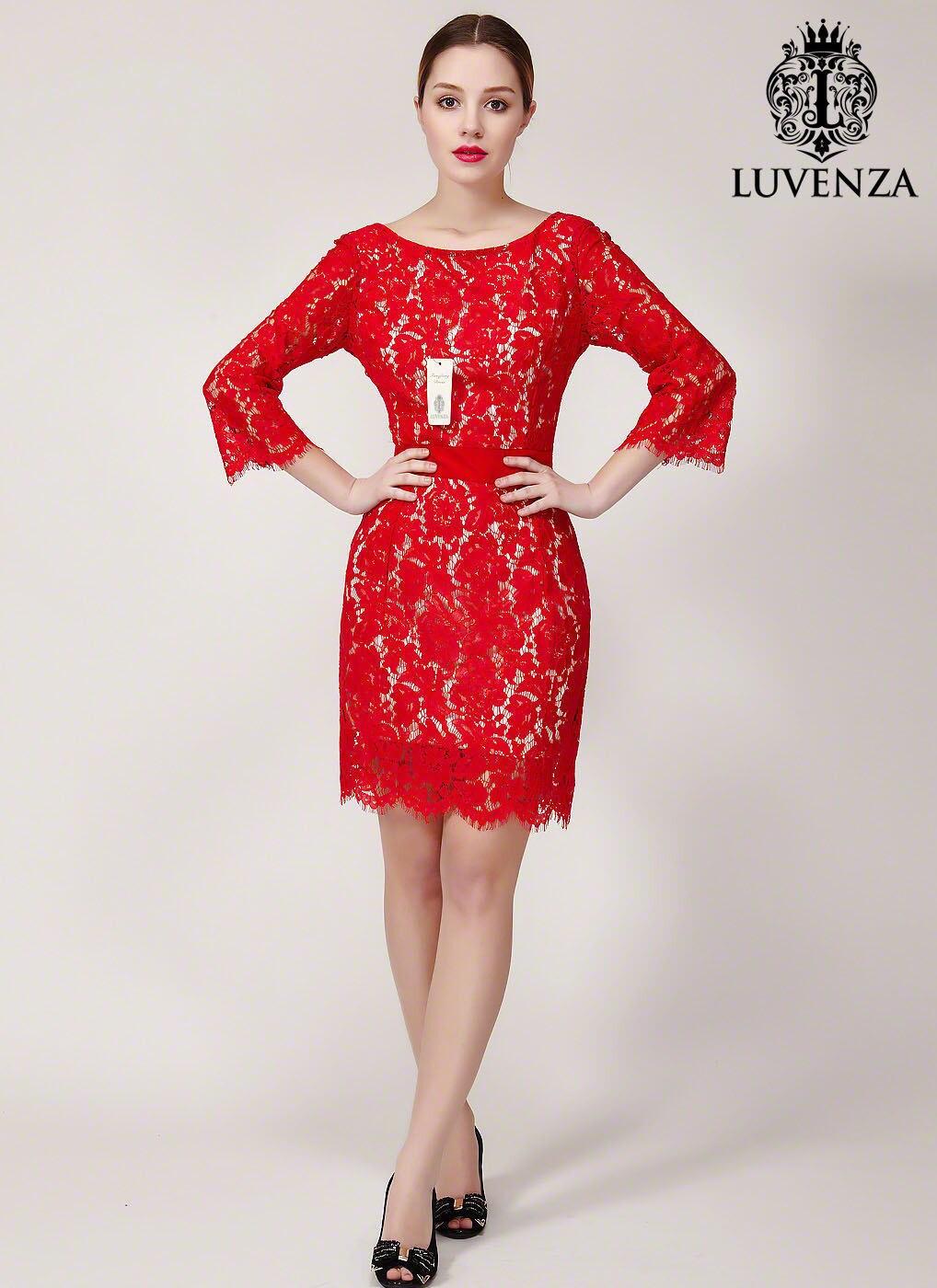 V zurück rote Spitze Kleid Etuikleid mit V zurück Spitze