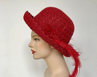 Vintage red woven sun hat
