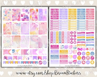 MAMBI Happy Planner Printable Stickers, Abstract Geometric printable planner stickers, Weekly set, Pink, Lilac, Yellow, PDF Instant Download