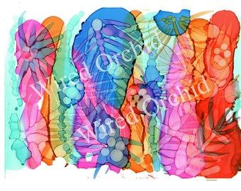 Tropical Bouquet Laser Copy of Original Alcohol Ink Artwork / True Blue, Orange, Turquoise, Purple, Hot Pink Abstract Design