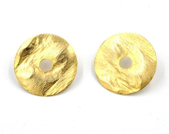 Earrings, yellow gold, nickel free, disc earrings gold, hangemachter jewelry
