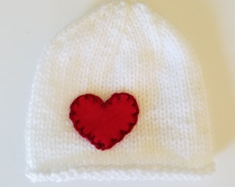 White Baby Beanie with Red Heart Newborn Age 0-2 Hand Knit