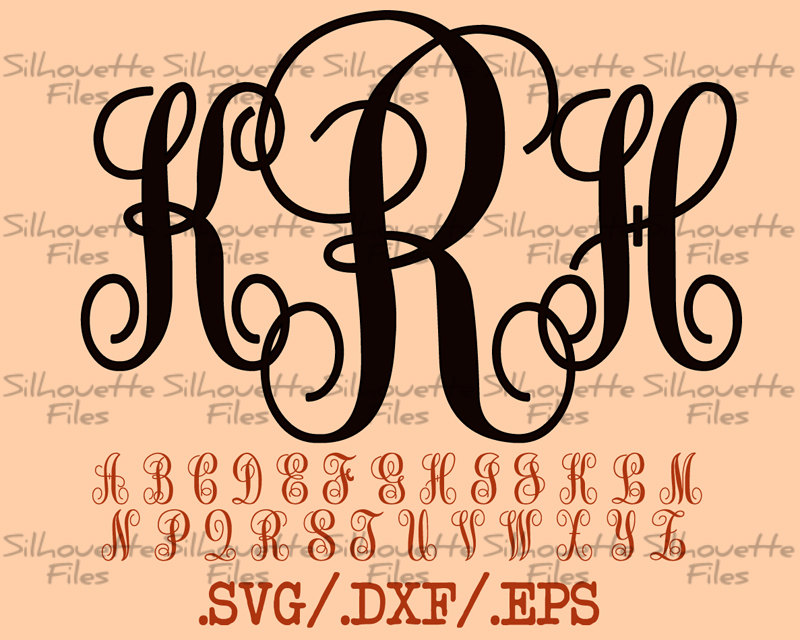 Download Monogram Vine Font Design Files For Use With Your Silhouette