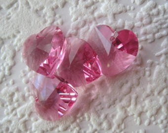 Swarovski Crystal, Heart, 14MM, Pendant, Charm, Rose, Pink,  Art 6202,