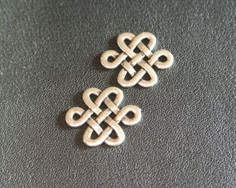 Set of 10 connectors intertwining Celtic/braided antique silver Chinese knot, 17 x 14 mm, thickness: 1.2 mm