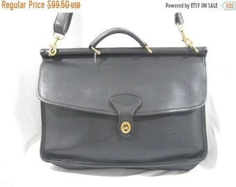 15% OFF SALE Vintage JACK Georges black leather briefcase with shoulder strap crossbody