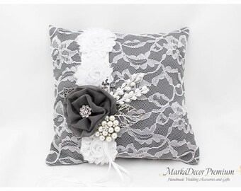 READY TO SHIP Wedding Handmade Lace Ring Pillow Custom Bridal Bearer Brooch Flower Pillow in Charcoal Grey and White