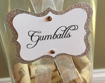 Silver Glitter & White Candy Tags