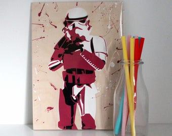 Star Wars Wall Art - Stormtrooper Painting - Pop Art - Pink Stormtrooper - Christmas Gift - Stocking Filler - Star Wars Gift - Stormtrooper