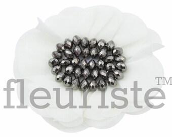 "4"" IVORY Chiffon Flower, Rhinestone Flower, Wholesale, Fabric Flower, Headband Flower, Flower Embellishment, DIY flower"