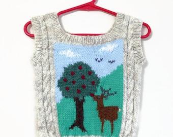 Kids Deer & Apple Sweater Vest